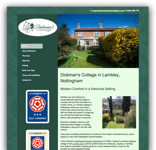 Dickman's Cottage - Self Catering Web Design and Web Development
