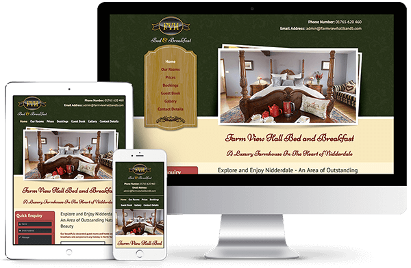 Farm View Hall Bed and Breakfast - Website Design and Development
