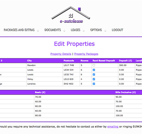 E-Autolease Edit Properties Page With Property Management System and Editable Tables