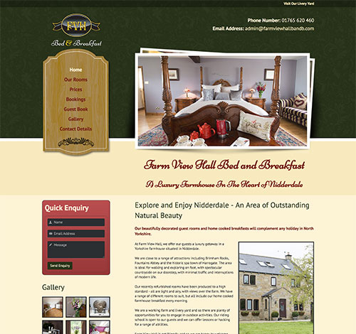 Farm View Hall Bed and Breakfast Website With Professional Photography and Home Page Slideshow