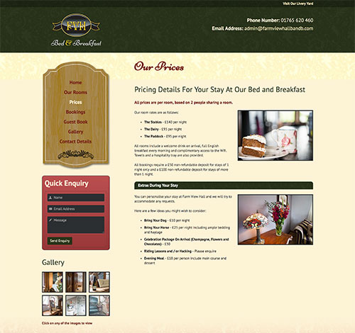 Farm View Hall Bed and Breakfast Clear Navigation In Sidebar Along With Contact Form and Quick Look Gallery