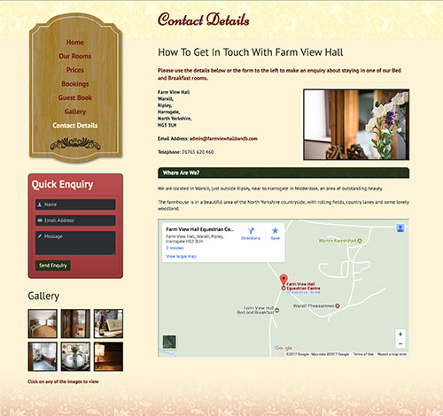 Farm View Hall Bed and Breakfast Contact Information With Embedded Google Map