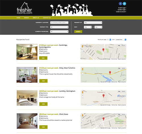 Fresher Rooms Search Facility With Ajax To Search By Location, Price and Property Type