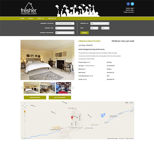 Fresher Rooms View Property Page With Favourite Functionality and Image Gallery