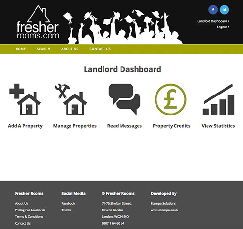 Fresher Rooms Landlord Dashboard With Secure Accounts System and Payment Facility
