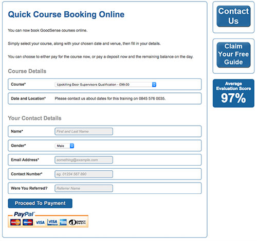 GoodSense Online Course Booking Form With Payment Facilities