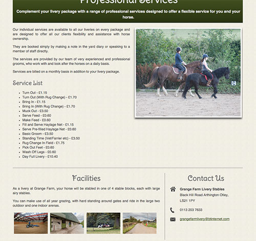 Grange Farm Services Page With SEO Content, Edited Images and Easy Maintenance